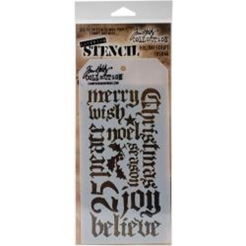 Tim Holtz Layered Stencil 4.125X8.5 - Holiday Script