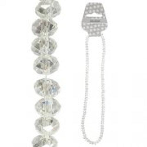 Fasettpärlor, glas 3-4mm, 100st Crystal