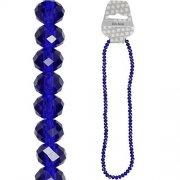 Fasettpärlor, glas 5-6mm, 100st Blue Opal