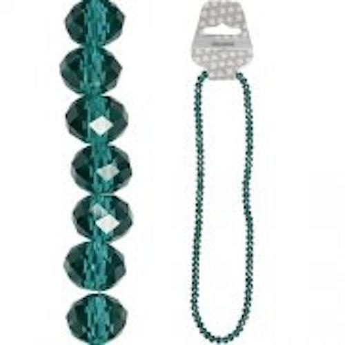 Fasettpärlor, glas 5-6mm, 100st Emerald
