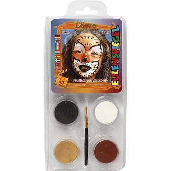 Ansiktsfärg, set med 4 st, Tiger/Lejon