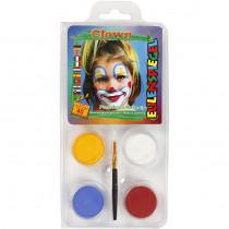 Ansiktsfärg, set med 4 st, Clown