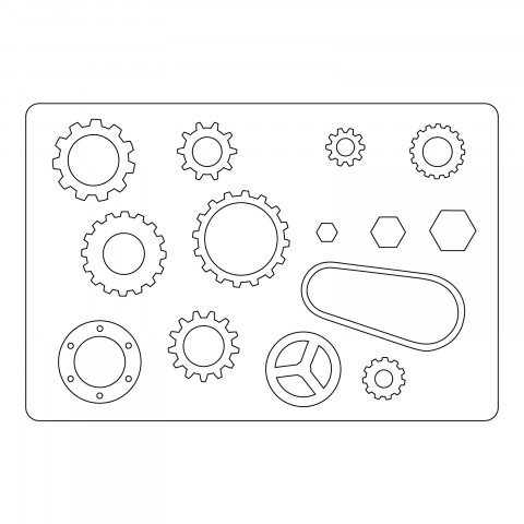 661817 Sizzix L-die, industrial cogs mm