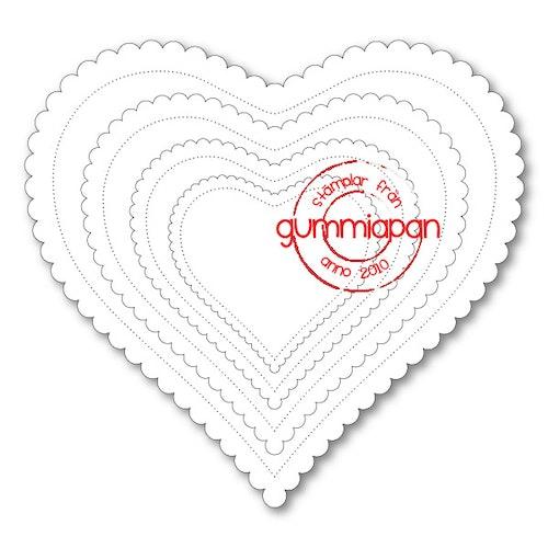 Gummiapan Dies, Scalloped Hearts D180109
