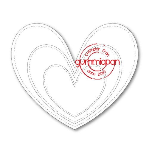 Gummiapan Dies, Stitched Symmetric Hearts D180118