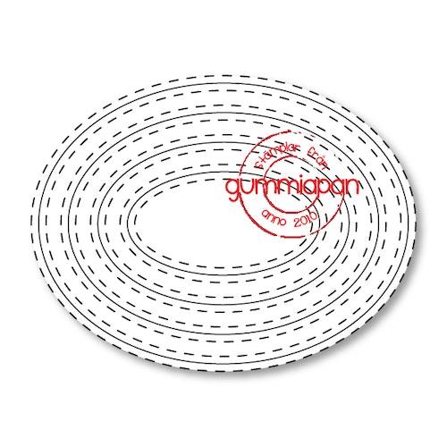 Gummiapan Dies, Double Stitch Ovals D180804