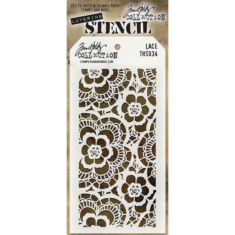 Tim Holtz Layered Stencil 4.125X8.5 - Lace