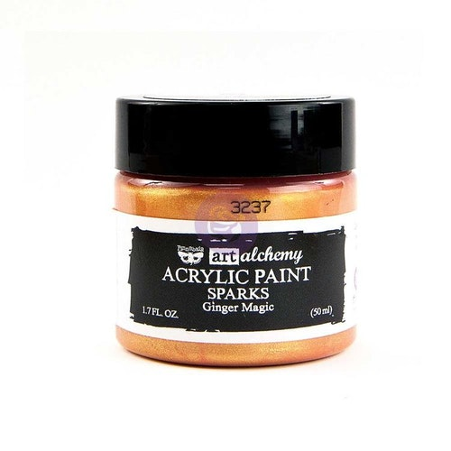 Finnabair Art Alchemy Acrylic Paint 50ml - SPARKS - Ginger magic