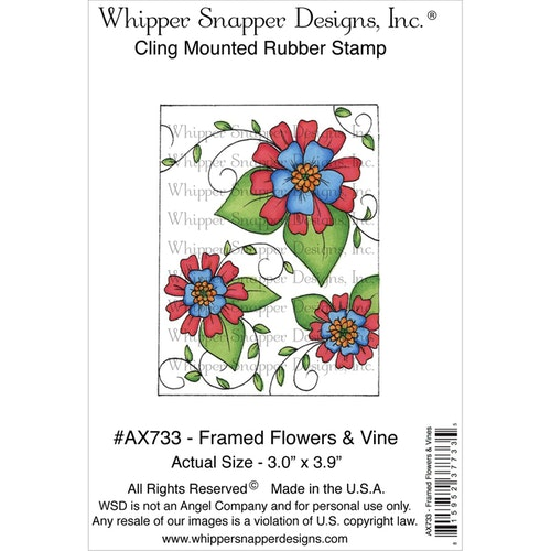 Whipper snapper rubber stamp - Framed Flowers & Wine