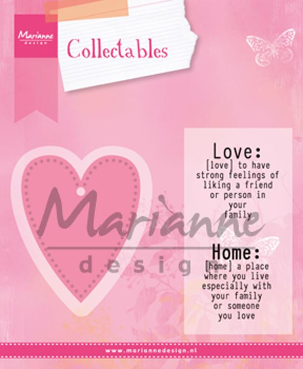 Marianne Design Die - collectables - Love dies med stämplar