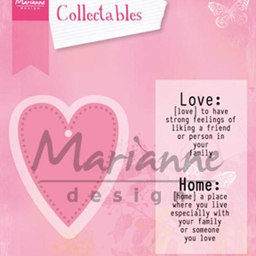 Marianne Design Die - collectables - Love dies med stämplar