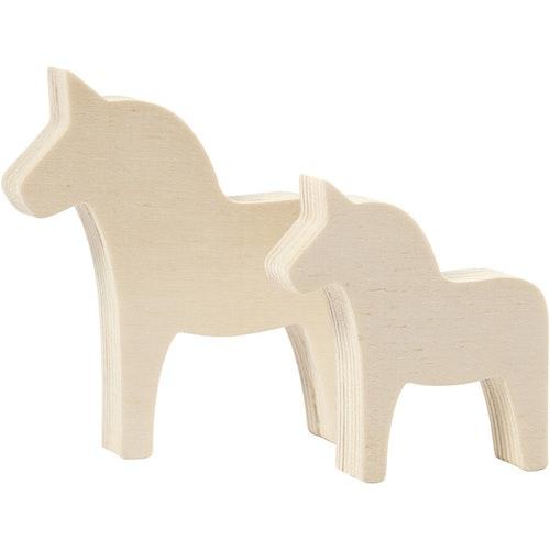 Dalahäst plywood, 2-pack 10x9,5 cm och 8x7 cm