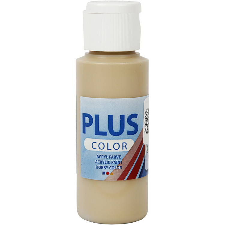 Plus Color hobbyfärg, dark beige, 60ml