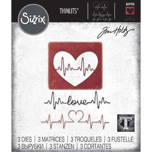 664416Tim Holtz Sizzix Thinlits Die Set- heartbeat