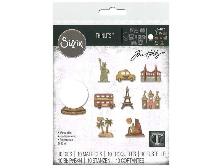 664182 Tim Holtz Sizzix Thinlits Die Set- tiny travel globe