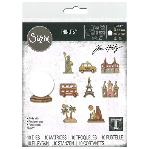 664182 Tim Holtz Sizzix Thinlits Die Set- tiny travel globe
