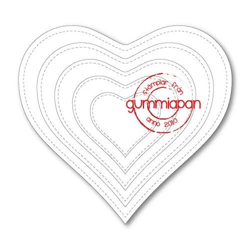 Gummiapan Dies, stiched heart D180119