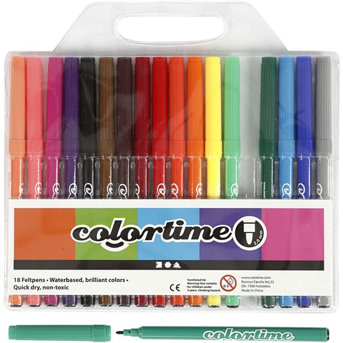 Colortime Tuschpennor 18 st