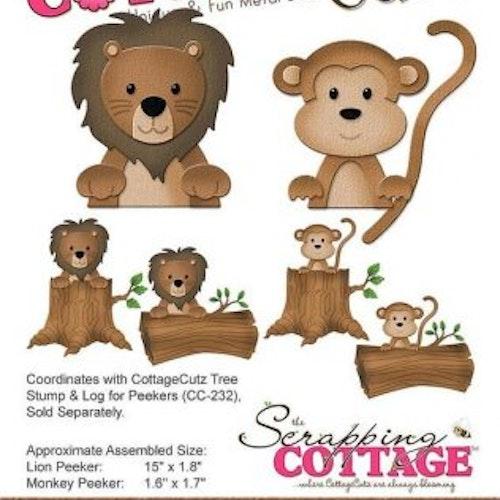 Cottage cutz Die - Forest peekers, lion & monkey