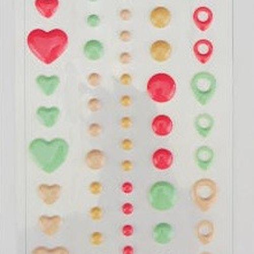 Enamel dots & hearts - Pink & mint