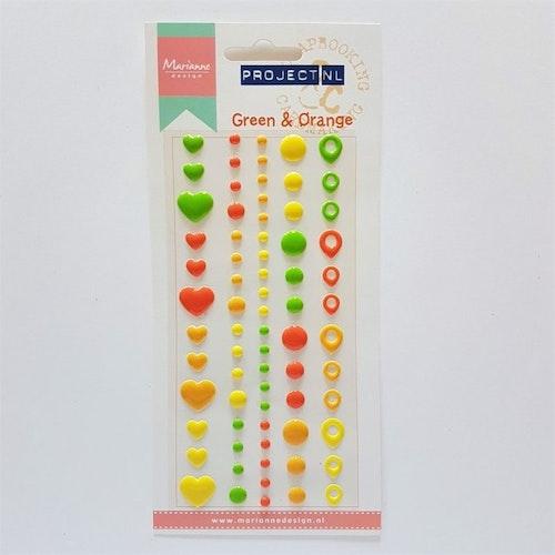 Enamel dots & hearts - Green & Orange
