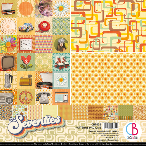 Ciao Bella Patterns Pad 12x12, The Seventies