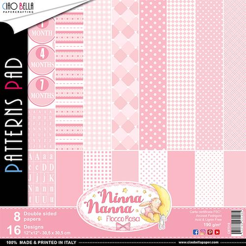 Ciao Bella Patterns Pad 12x12, Fiocco Rosa