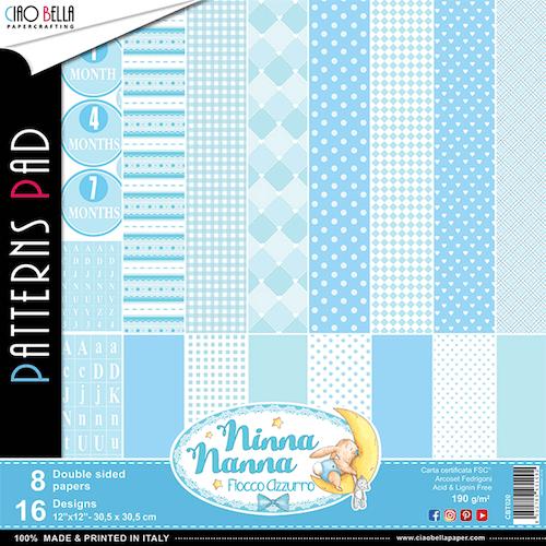 Ciao Bella Patterns Pad 12x12, Fiocco Azzurro