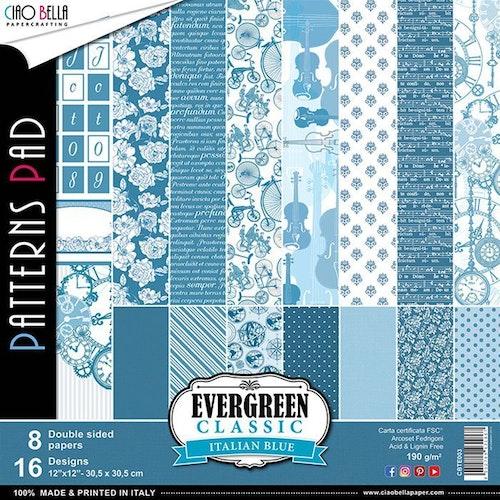 Ciao Bella Patterns Pad 12x12, Evergreen classic italian blue