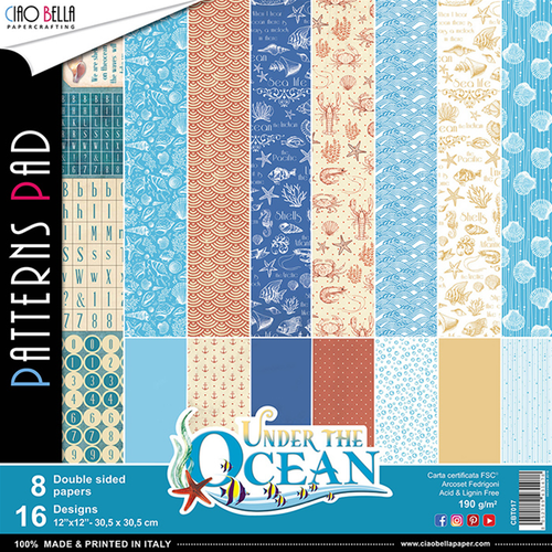 Ciao Bella Patterns Pad 12x12, Under the ocean