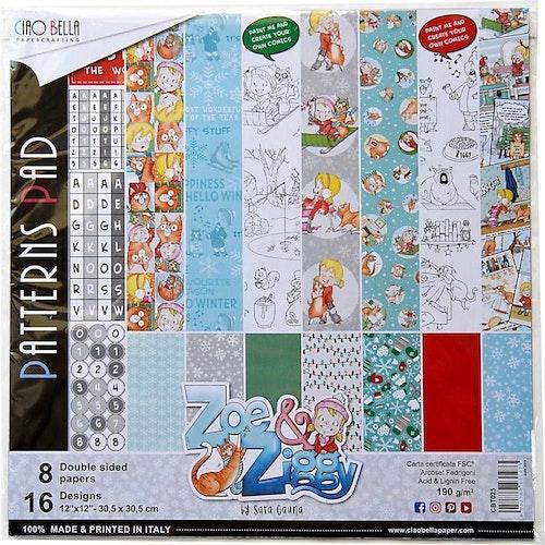 Ciao Bella Patterns Pad 12x12, Zoe and Ziggy