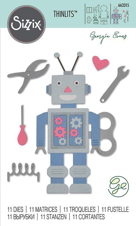 663315 Sizzix Thinlits Die Set 11PK - 50s robot