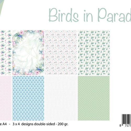 Joy!Crafts, A4 Papper 12st - Birds in paradise