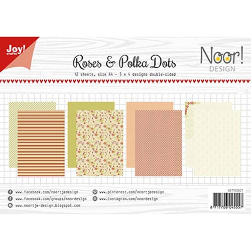 Joy!Crafts, A4 Papper 12st - Roses and polkadots