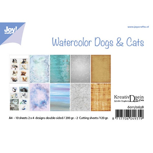 Joy!Crafts, A4 Papper 12st - Watercolor dogs & cats