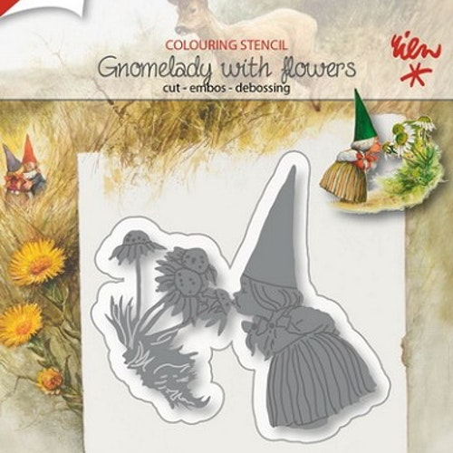 Joy! crafts dies - gnomelady with flowers 1207