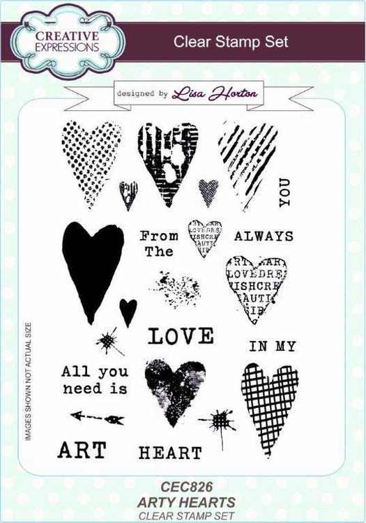 Creative Expressions Clear Stamp set - Arty hearts