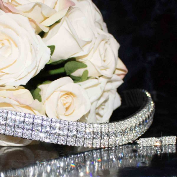 Clear Crystal Diamante Bling Browband - AmazBling! - Black, (#PC160AB)