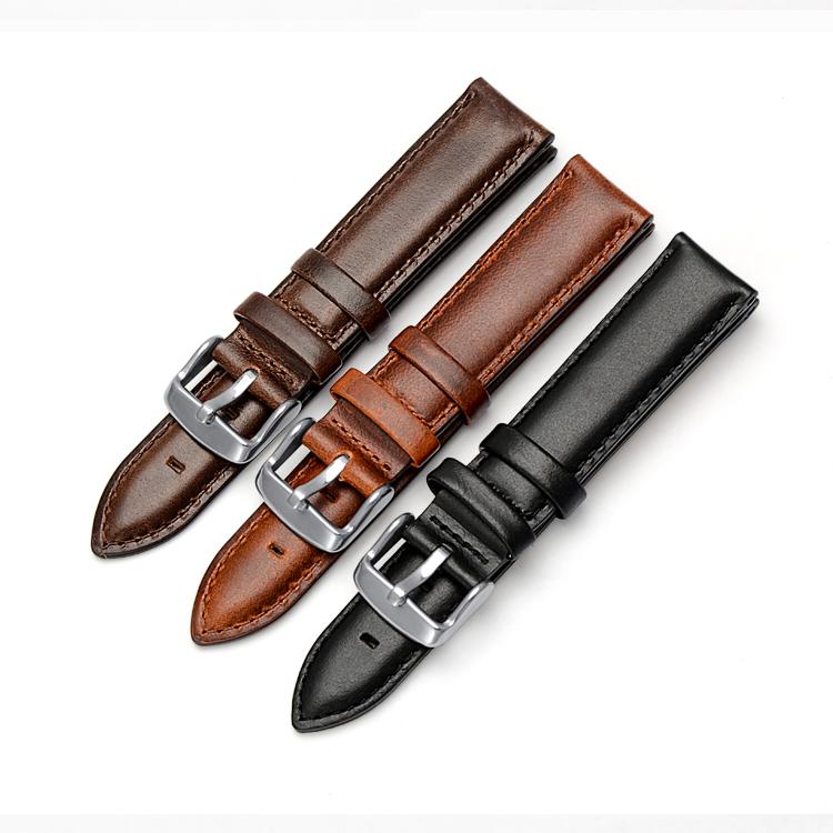 Klassiskt klockarmband av svart läder 14mm 16mm 18mm 20mm