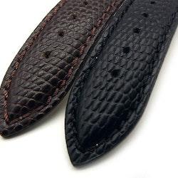 Ödlemönstrat klockarmband av svart läder 16mm 18mm 20mm