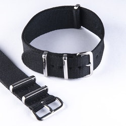 NATO-armband black / svart 18 mm 20 mm 22 mm