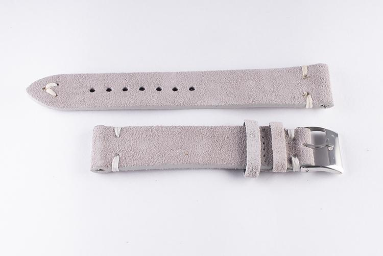 Klockarmband av grå mocka / läder 22mm 24mm