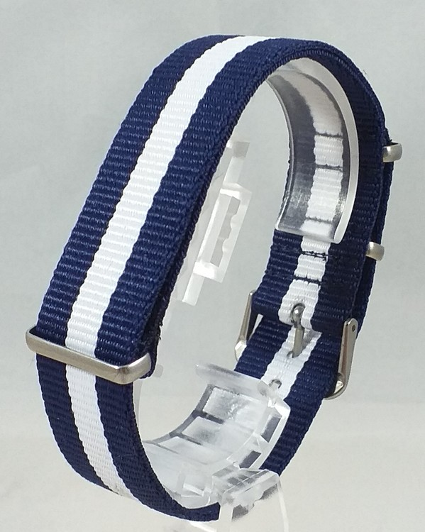 NATO-armband Blå - Vit Bredd 20 mm