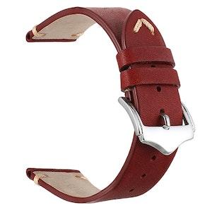 Rött vintage klockarmband i läder