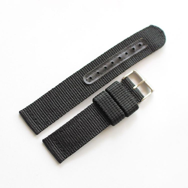 Svart natoband i två delar 18mm 20mm 22mm 24mm