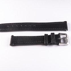 Klockarmband av svart läder med svart söm 18mm 20mm 22mm