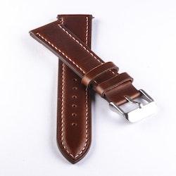 Klockarmband av mörkbrunt läder med vit söm 18mm 20mm 22mm