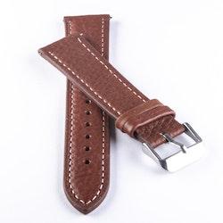 Klockarmband av brunt läder med vit söm 18mm 20mm 22mm