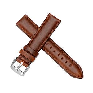 Klassiskt klockarmband av brunt läder 14mm 16mm 18mm