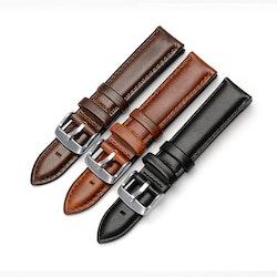 Klockarmband av mörkbrunt läder 14mm 16mm 18mm 20mm 22mm
